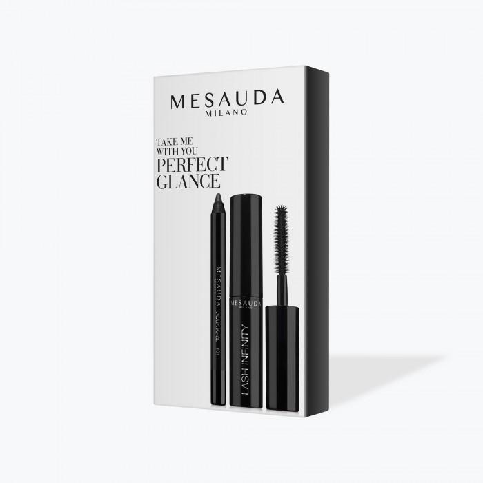 Image of Mesauda Milano TAKE ME WITH YOU - PERFECT GLANCE - Kit Mini Mascara Effetto Ciglia Moltiplicate e Mini Matita Occhi Nera