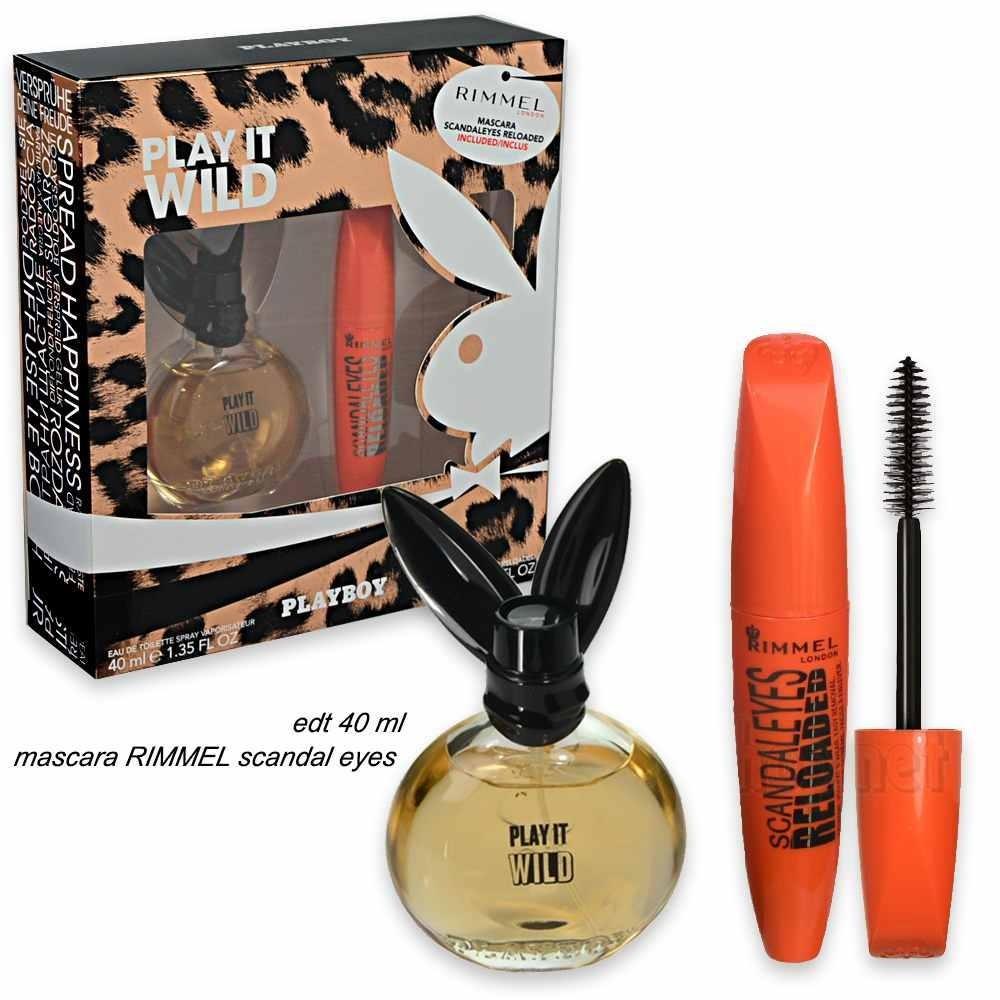 Image of Gift Set Donna Playboy Play It Wild Eau de Toilette 40 ml Rimmel Mascara Scandal eyes Reloaded 12ml